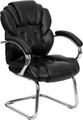 Black Leather Transitional Side Chair with Padded Arms and Sled Base , #FF-0450-14