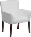 White Leather Executive Side Chair or Reception Chair with Mahogany Legs , #FF-0453-14