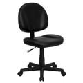 Mid-Back Black Leather Ergonomic Task Chair , #FF-0319-14