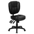 Mid-Back Black Leather Multi-Functional Ergonomic Task Chair , #FF-0327-14