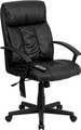 High Back Massaging Black Leather Executive Office Chair , #FF-0232-14