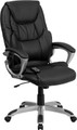 High Back Massaging Black Leather Executive Office Chair with Silver Base , #FF-0234-14
