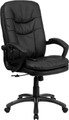 Mid-Back Massaging Black Leather Executive Office Chair , #FF-0235-14