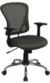 Mid-Back Dark Gray Mesh Office Chair with Chrome Finished Base , #FF-0067-14