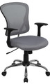 Mid-Back Gray Mesh Office Chair with Chrome Finished Base , #FF-0068-14