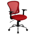Mid-Back Red Mesh Office Chair with Chrome Finished Base , #FF-0070-14