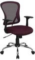Mid-Back Burgundy Mesh Office Chair with Chrome Finished Base , #FF-0071-14