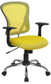 Mid-Back Yellow Mesh Office Chair with Chrome Finished Base , #FF-0073-14