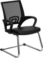 Black Leather Office Side Chair with Black Mesh Back and Sled Base , #FF-0009-14