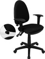 Mid-Back Black Fabric Multi-Functional Task Chair with Arms and Adjustable Lumbar Support , #FF-0343-14