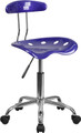 Vibrant Deep Blue and Chrome Computer Task Chair with Tractor Seat , #FF-0399-14