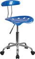 Vibrant Bright Blue and Chrome Computer Task Chair with Tractor Seat , #FF-0401-14