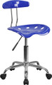 Vibrant Nautical Blue and Chrome Computer Task Chair with Tractor Seat , #FF-0403-14