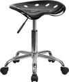 Vibrant Black Tractor Seat and Chrome Stool , #FF-0486-14