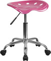 Vibrant Pink Tractor Seat and Chrome Stool , #FF-0497-14