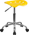 Vibrant Orange-Yellow Tractor Seat and Chrome Stool , #FF-0498-14