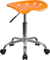 Vibrant Orange Tractor Seat and Chrome Stool , #FF-0501-14