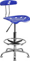 Vibrant Nautical Blue and Chrome Drafting Stool with Tractor Seat , #FF-0547-14