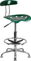 Vibrant Green and Chrome Drafting Stool with Tractor Seat , #FF-0553-14