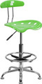 Vibrant Apple Green and Chrome Drafting Stool with Tractor Seat , #FF-0555-14