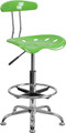 Vibrant Spicy Lime and Chrome Drafting Stool with Tractor Seat , #FF-0557-14