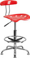 Vibrant Cherry Tomato and Chrome Drafting Stool with Tractor Seat , #FF-0563-14