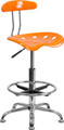 Vibrant Orange and Chrome Drafting Stool with Tractor Seat , #FF-0575-14