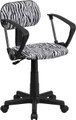 Black and White Zebra Print Computer Chair with Arms , #FF-0382-14