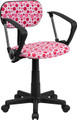 Pink Dot Printed Computer Chair with Arms , #FF-0388-14