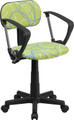 Blue & White Swirl Printed Green Computer Chair with Arms , #FF-0394-14