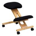 Mobile Wooden Ergonomic Kneeling Chair in Black Fabric , #FF-0434-14