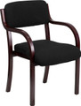 Contemporary Black Fabric Wood Side Chair with Mahogany Frame , #FF-0460-14