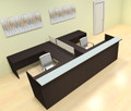 8pc 12' Feet U Shaped Glass Divider Counter Reception Desk Set, #CH-AMB-R17
