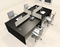 Four Persons Modern Office Divider Workstation Desk Set, #CH-AMB-FP33