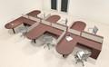 Six Person L Shaped Modern Divider Office Workstation Desk Set, #CH-AMB-SP26
