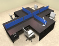 Four Person Blue Divider Office Workstation Desk Set, #OT-SUL-FPB44