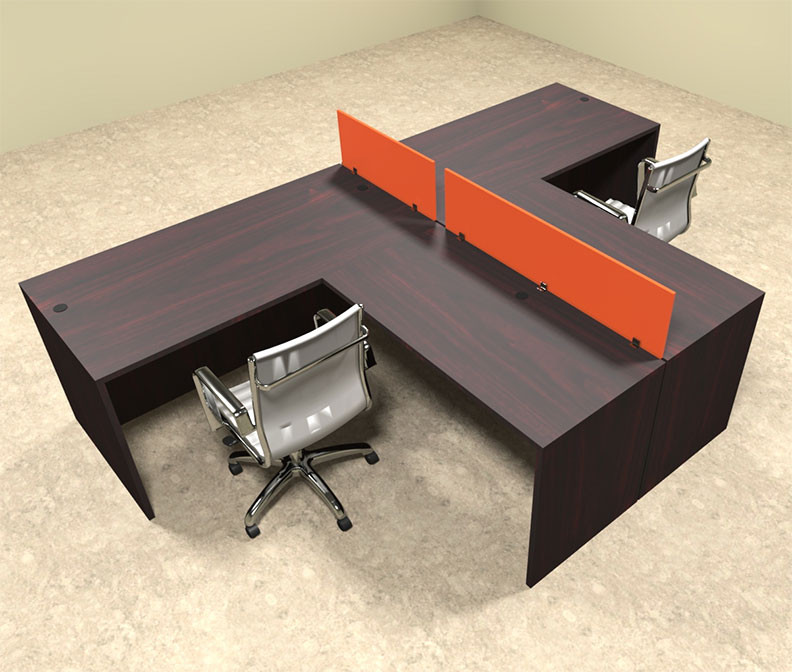 Office workstation desk Individual Categories Costco Wholesale Two Person Orange Divider Office Workstation Desk Set otsulspo43