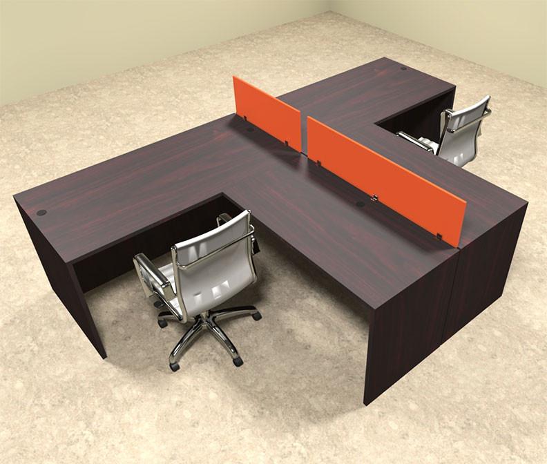 Office workstation desk Individual Categories Costco Wholesale Two Person Orange Divider Office Workstation Desk Set otsulspo43