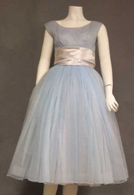 Floating Pale Blue Chiffon 1950's Party Dress w/ Pleated Bust & Satin Waist