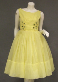 Lovely Yellow Chiffon 1950's 1960's Dress w/ Rosettes & Matching Jacket