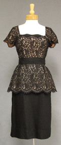 Curvaceous Black Illusion Lace 1950's Cocktail Dress w/ Peplum