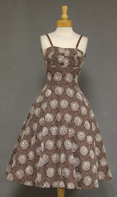 Frances Prisco Chocolate & Ivory Embroidered Organdy 1950's Cocktail Dress