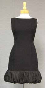 Little Black Crepe 1960's Cocktail Dress w/ Taffeta Balloon Hem