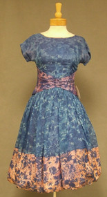 Blue Floral Chiffon 1950s 1960s Balloon Hemmed Dress w/ Acetate Trim