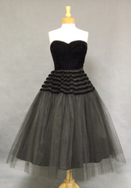 GORGEOUS Black Velvet & Tulle Strapless 1950's Cocktail Dress