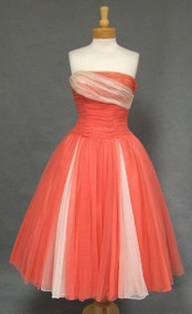 OUTSTANDING Coral & Ivory Gathered Chiffon Strapless 1950's Dress