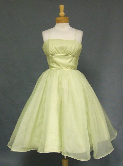 Pale Green Organdy 1960's Prom Dress w