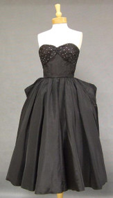 Rustling Black Taffeta Strapless 1950's Cocktail Dress w/ Bustle & Rhinestones