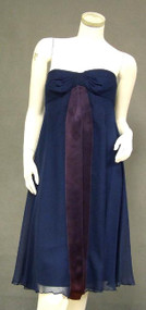Floating Navy Blue Chiffon Strapless Sarmi Cocktail Dress w/ Wrap