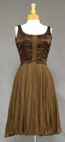 Oleg Cassini Chocolate Silk Satin & Chiffon 1960's Cocktail Dress